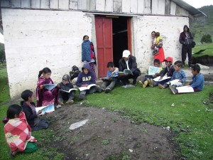 CHE Children learning with Obispo in the Village of Buena Vista Cuchumatanes Mountains on a regular basis